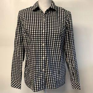 Ann Taylor Black White Plaid Gingham Button Shirt